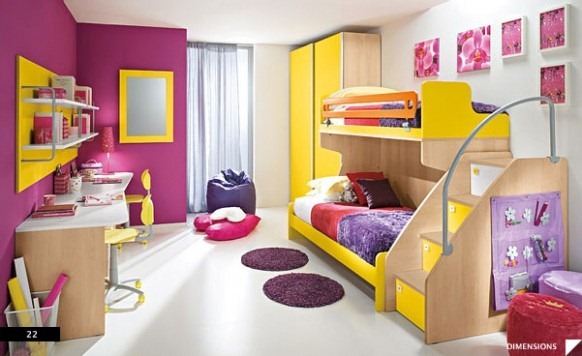 Purple-and-Yellow-Teen-Bedroom-582x356