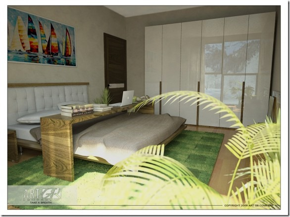 Green-Breakfast-in-Bed-Room-582x436
